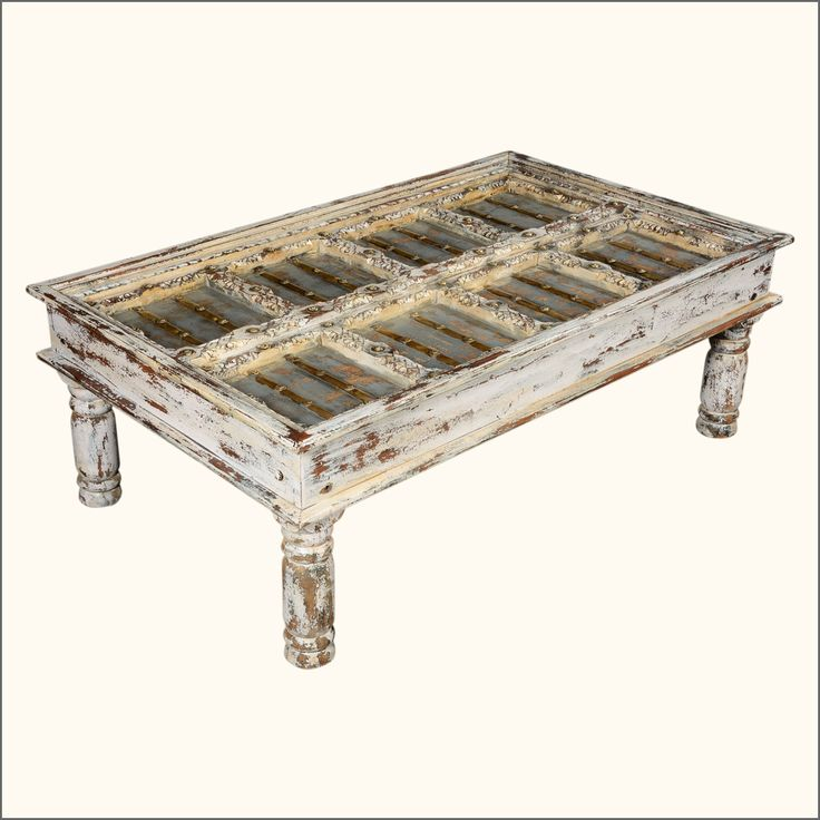 Mango Wood Coffee Table Distressed Gray: Winter White Distressed Mango Wood Coffee Table
