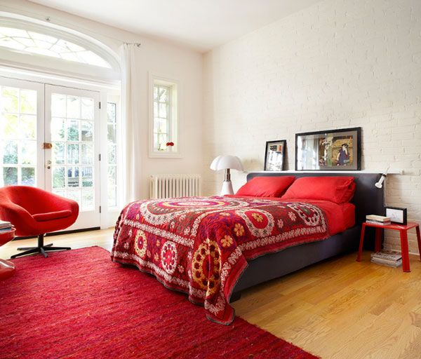 Awesome Color Spectacular Dashing Bedrooms Of Red And Grey With White Wall Rug Bed Glass Window Door Art Chair Two Pillow Wooden
