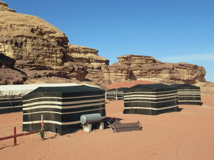 Goat-hair tents accommodate visitors to Wadi Rum in the desert near Aqaba in southern Jordan.