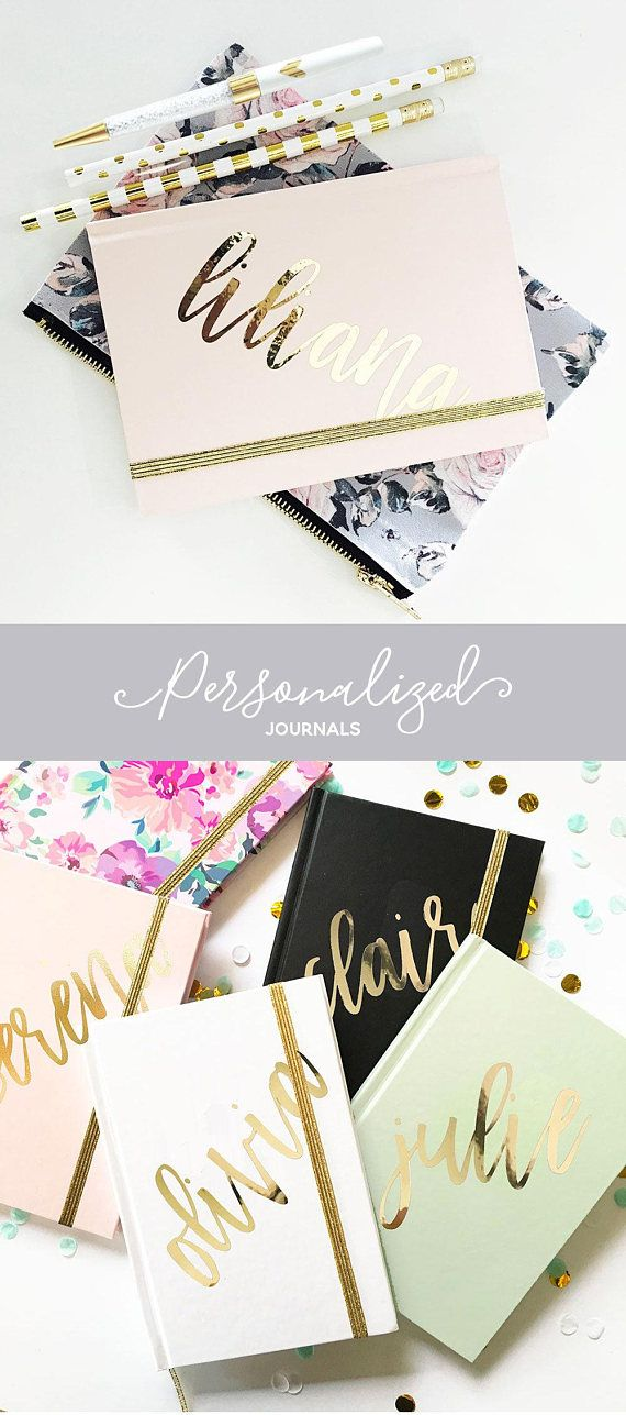 Personalized Journals are unique gift for women attending a yoga retreat or office outing - also make great birthday gifts for female friends who like pretty things! These chic journals are personalized with a METALLIC GOLD vinyl name and is available in white, pink, mint, blush floral, black or pink marble. A gold elastic is included. Journals make a great gift any woman can use!