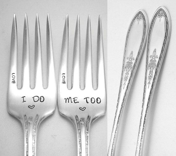 Stamped Fork I Do Me Too Engraved Forks  by TheSilverwearShop