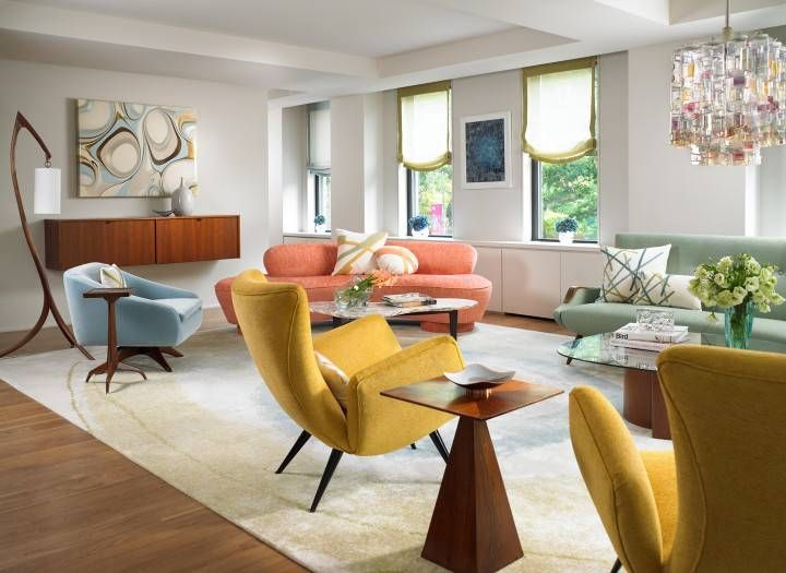 Every piece a different solid color on original looking upholstery    Central Park West Family Residence   modern   living room   new york   Amy  Lau Design376 best Atomic Hotel images on Pinterest   Midcentury modern  . Midcentury Living Room. Home Design Ideas