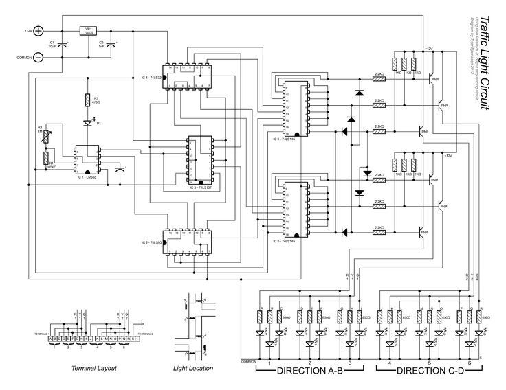 traffic light controller wiring diagram