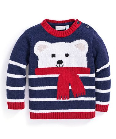 Loving this Navy Polar Bear Stripe Sweater - Infant, Toddler & Boys on #zulily! #zulilyfinds