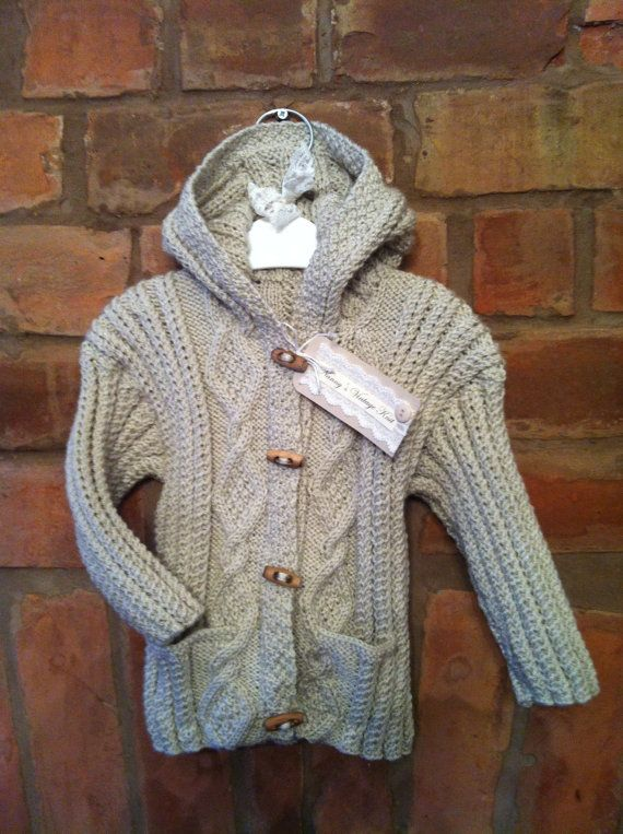 Gorgeous cable knit hooded Cardigan suitable by NannysVintageKnit, £16.00
