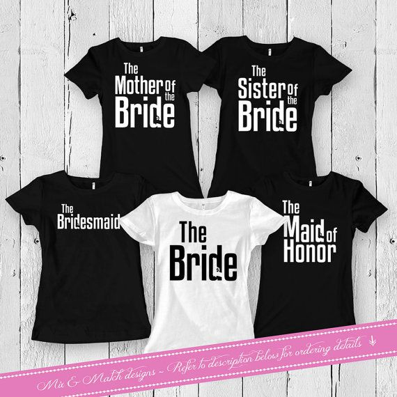 Matching Set for Brides And Bridesmaids Shirts  - Leave the quantity at 1 - Use the dropdown menu to select the number of tank tops youd like to purchase - Default Color is White for the Bride and Black for the Bridal Party - Size Chart is located in Picture 2 above - Please leave a note upon checkout under the Notes to Seller section stating the quantity, sizes and designs youd like (i.e. 1 Ladies Small - Bride, 1 Ladies Small - Maid of Honor, 2 Ladies Large - Bridesmaids) - All t-shirts…