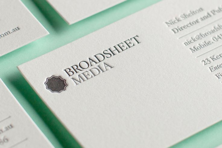 Broadsheet's letterpress business cards by The Hungry Workshop