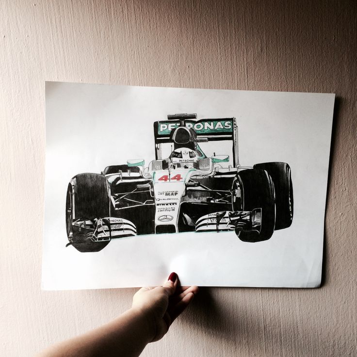 Non-commission work  Lewis Hamilton F1 car  Drawn and colour for my little brother
