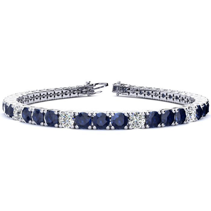 12 3 4 Carat Sapphire And Diamond Graduated Tennis Bracelet In 14k White Gold Available Jewelry Center Jewelry