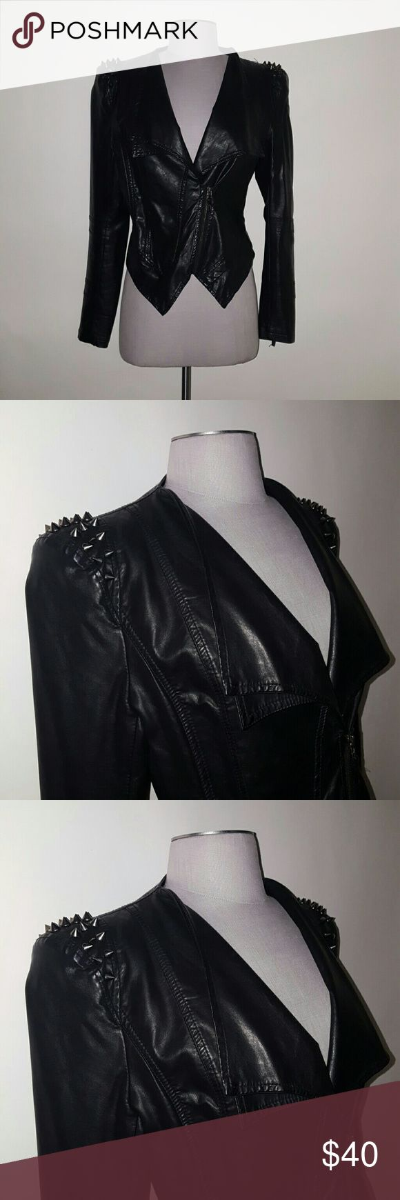PU Spiked Leather Jacket PU leather jacket with silver spikes on shoulders. Can be worn opened for casual look or closed to reveal blazer style. Jackets & Coats