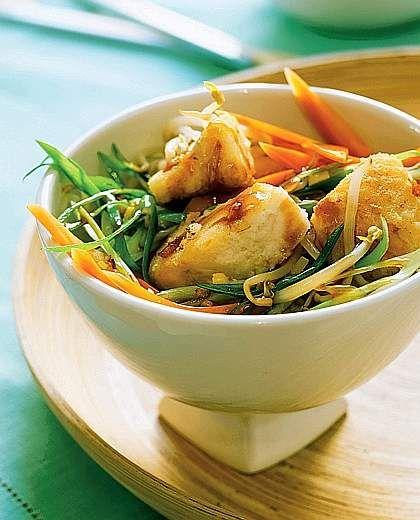 Bocconcini di merluzzo con verdure saltate