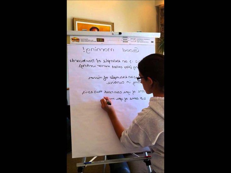 Example of Mirror Writing #LefthandersIntl - http://Left-handersInternational.com