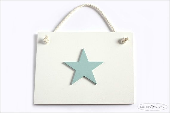 Wooden hand painted picture with star  Kids room by LullabySTORY