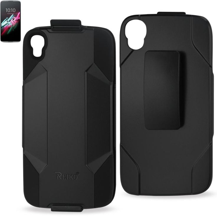 Reiko Silicone Case+Protector Cover Alcatel Onetouch Idol 3 5.5Inches Holster With Clip Black