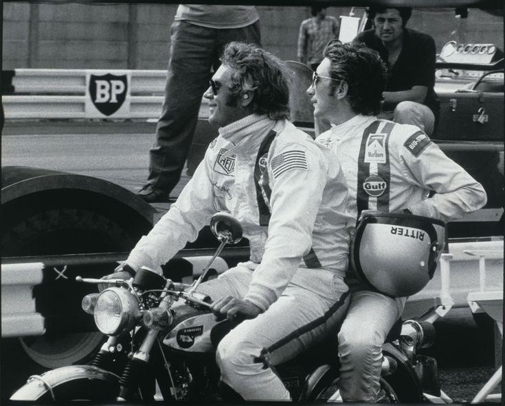 Steve McQueen et Jo Siffert sur le plateau de tournage du Mans (1971)