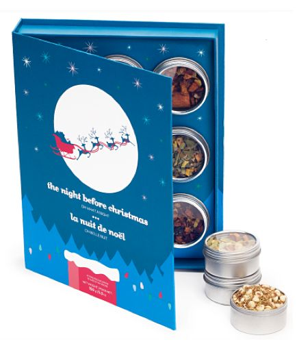 DavidsTea [Davids Tea] The Night Before Christmas/La nuit de noel gift box ... 9 tea tins in book-shaped box with scene of reindeer pulling Santa Claus' sleigh through the night sky, c. 2010s, Canada