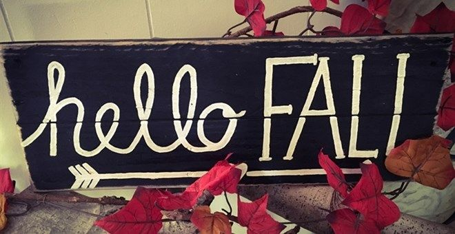 """""""Hello Fall"""" Pallet Sign  Hand painted 18in x 6.5in"""