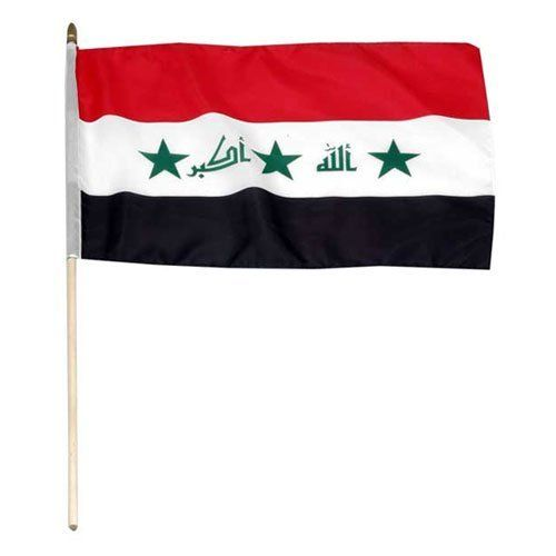 """Iraq Flag 12 x 18 inch by US Flag Store. $2.20. Sewn Edges. International 12in x 18in Stick Flag. Brilliant Colors Printed on Polyester Fabric. Low Cost Shipping Available!. Mounted to a 24"""" Wooden Stick. Iraq Flag 12"""" x 18"""" Higher quality than you can find anywhere! Most flags this size are printed on coarse fabric and have cut edges. Our 12"""" x 18"""" stick flags are nicely printed onto quality polyester fabric and sewn around the all edges. Most have a sewn pole sleeve, which ..."""