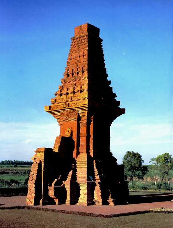 The restored gateway of Candi Bajang Ratu at Trowulan, Mojokerto, Indonesia.
