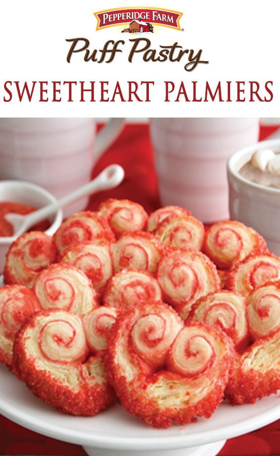 Pepperidge Farm Puff Pastry Sweetheart Palmier Recipe. Serve up some love this Valentine's Day with Sweetheart Palmiers. With just a few ingredients, roll up Puff Pastry in decorating sugar and slice into these sweet little cookies.