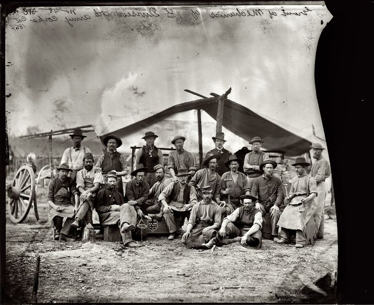 Shorpy Historical Photo Archive :: 1st Division Mechanics: 1864. Note the great detail of different hats, pipes and clothes.( click twice for great detail)