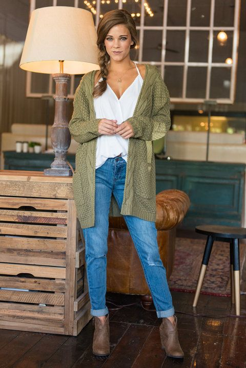 """To Love Somebody Cardigan, Olive""You have just entered cardi heaven! This olive green cardigan is ultra cozy and warm! It's also super classic and trendy! This cardgan will layer over so many of your fall outfits!  #newarrivals #shopthemint"