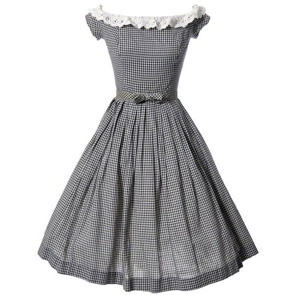 Vintage Black and White Gingham Dress with Eyelet Lace ($525) ❤ liked on Polyvore featuring dresses, black white dress, lace trim dress, bow dress, vintage day dress and vintage dresses