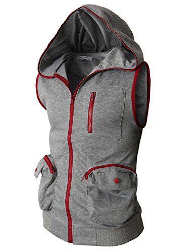 H2h Men's Active Sleeveless Hoodie Zip-up Vest #H2H