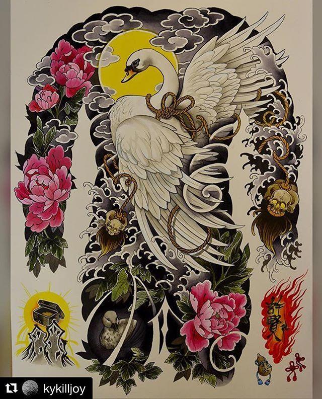 白鳥 - swan by @kykilljoy  #japanesetattooart #japanesetattoos #newschooljapanese #japaesetattoo #traditionaljapanese #irezumi #irezumicollective #tebori #wabori #japanesetattoodesign #neojapanese #tattooartist #tattooart#artwork #art #prints #ink #inked #tattooed #tattoist #instaart #instagood #tatted #instatattoo #bodyart #tatts #tats #amazingink #tattedup #inkedup