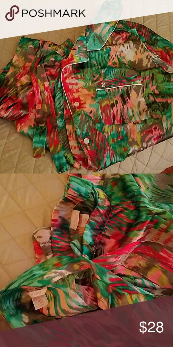 Victoria Secret silk pjs So cute colorful silk pjs. Size large. Fits tts. Long sleeve top, and pants. Never worn Victoria's Secret Intimates & Sleepwear Pajamas