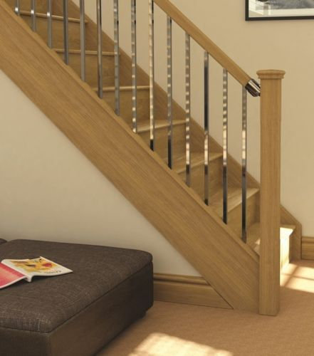 AXXYS Oak & Chrome Stair and Landing Set - Select Landing length