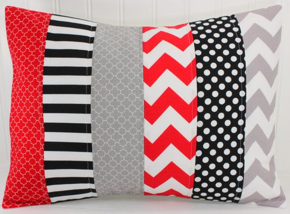 Pillow Cover, Nursery Decor, Patchwork Pillow Cover, Pillow Case, Crib Bedding, 12 x 16 Inches, Black, Red, Grey, Gray, Chevron, Stripes
