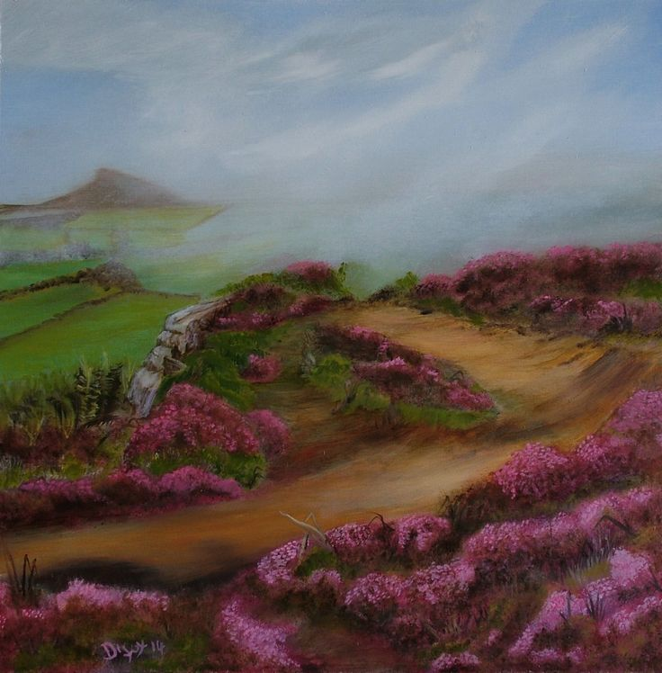 """Original Oil painting North Yorkshire  """"Moors View"""" 12 x 12"""""""