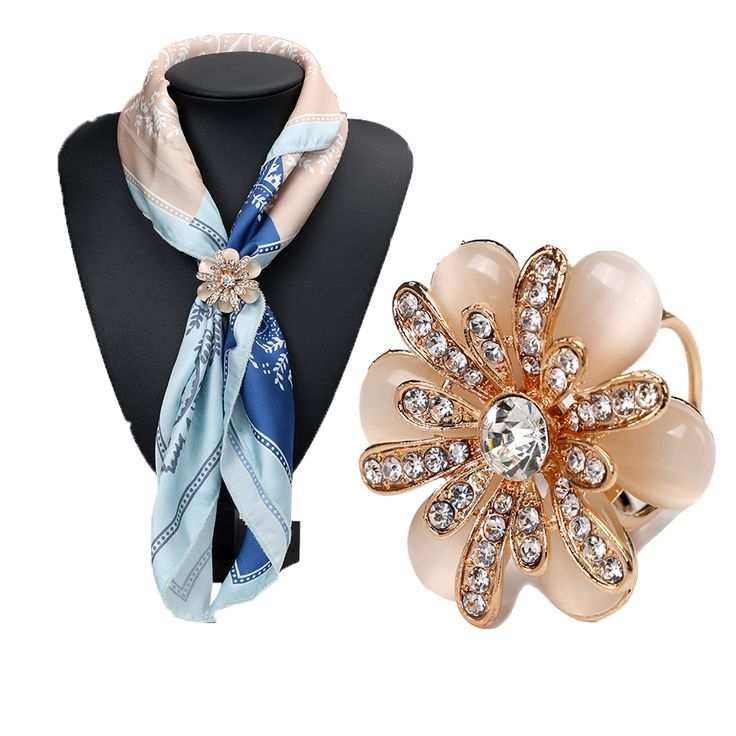 Rhinestone Crystal Gold Plated Flower Scarf Brooch Pins Opal Stone Flower Scarf Clips for Women Wedding Party 3792