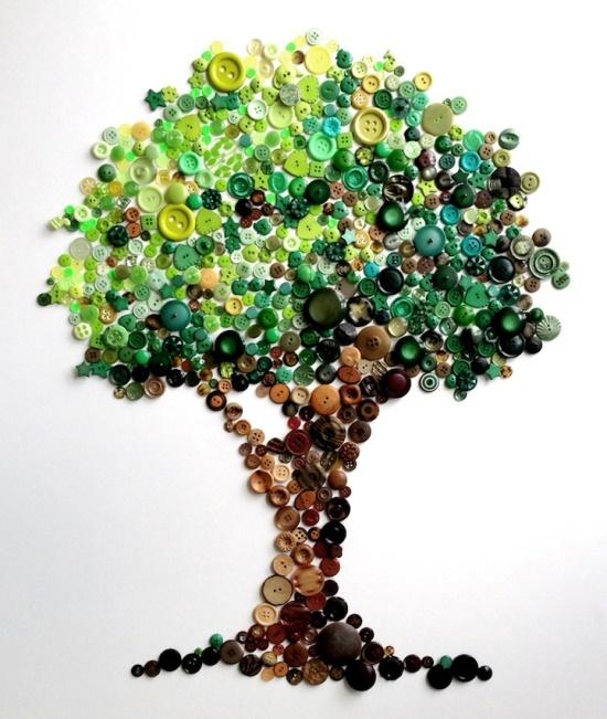 Spectacular Rainbow Button Art by Karen Hurley