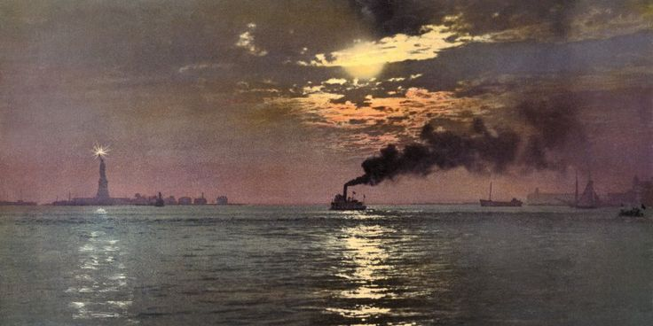 """Sunset from the Battery, New York, Anonymous, photochrom. """"These rediscovered Photochrom and Photostint postcard images from private collection of Marc Walter were produced by the Detroit Photographic Company between 1888 and 1924. Using a photolithographic process that predated the autochrome by nearly 20 years, they offered people the very first color photographs of The United States."""" See more at…"""