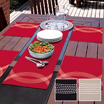 This classic cotton table range will make the perfect dinner companion with its beautiful, bold colours and contemporary style. Highlighted with crescents of contrasting silver stitching, Seville provides a modern, striking and fashionable addition to table décor. This design is ideal for an indoor or al fresco dining experience.