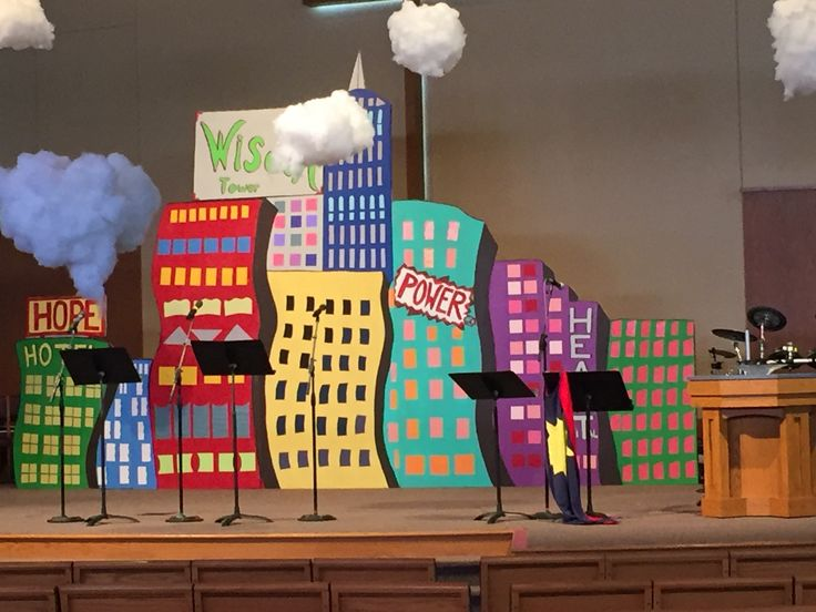 Love this super Hero Central set. It was created with foam insulation panels (The one featured used ten panels which were 4-by-8-foot in size.), yard sticks, duct tape, scrapbook or decorative paper and colorful sheets of sheets of foam craft paper! More ideas coming in the Decorating Guide. cokesburyvbs.com