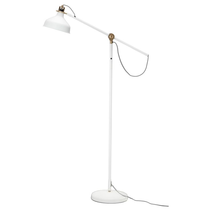 Beautiful white and gold floor lamp with an exposed black and white coated cord. RANARP Floor/reading lamp - IKEA