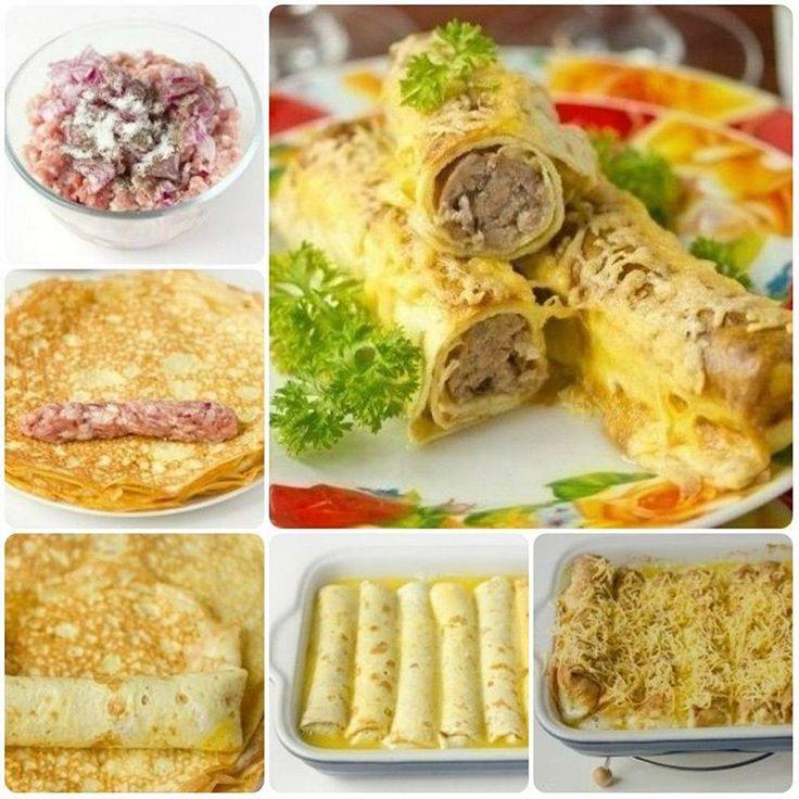 Яичные рулетики с мясной начинкой - отличный завтрак! Ингредиенты: Яйца курины... | Вкусные рецепты