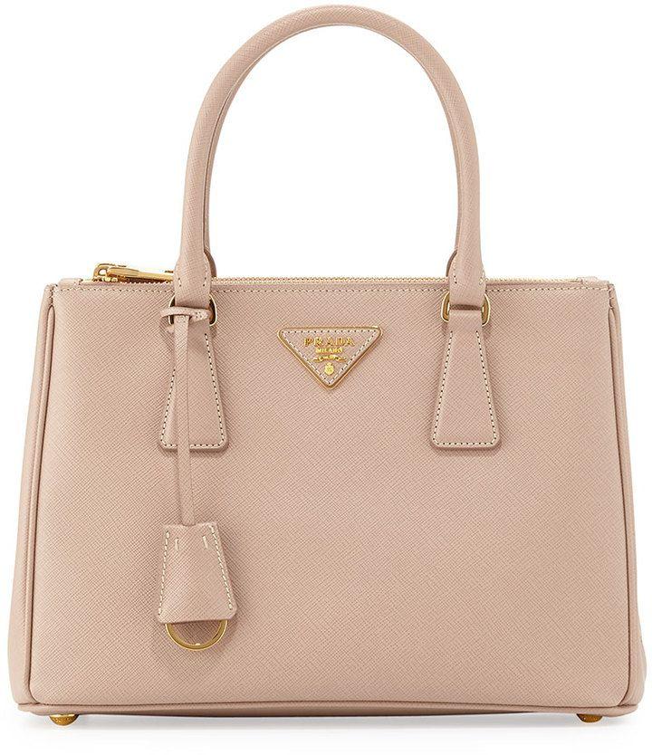 Prada Saffiano Lux Small Double-Zip Tote Bag, Blush (Cammeo)