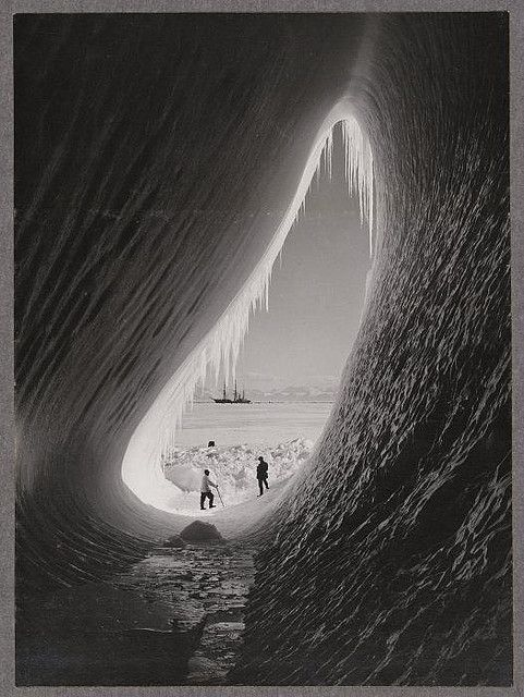 Grotto in an iceberg, photographed during the British Antarctic Expedition of 1911-1913, 5 Jan 1911 by National Library NZ on The Commons on Flickr.