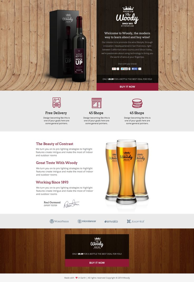 See the live template on Themeforest ➜ http://themeforest.net/item/woody-drink-shop-instapage-landing-page-template/9286111