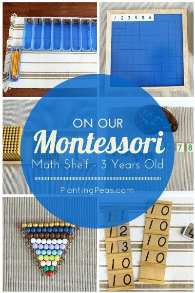 What's on our Montessori math shelf at 3 years old. Go to PlantingPeas.com to find out more!