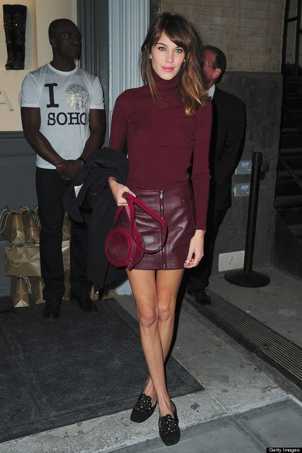 Style/fashion - Alexa Chung in Versace all maroon outfit