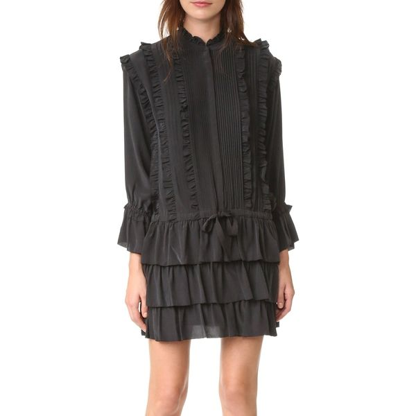 --evaChic--This Ulla Johnson Marlie Tiered Ruffle Dress features a Victorian-inspired mix of different ruffles and pintuck details for a textural effect on fluid silk fabric. The drawstring waist offers adjustability and versatility to your styling. The mini length comes in balance with the long frilled sleeves, selectively showing some skin.       https://www.evachic.com/product/ulla-johnson-marlie-tiered-ruffle-dress/