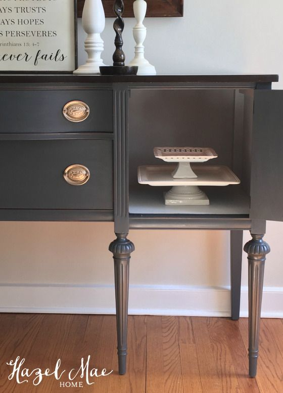 Painted Buffet - General Finishes Queenstown Gray and Java Gel Stained Top. Vintage Buffet {by Hazel Mae Home}
