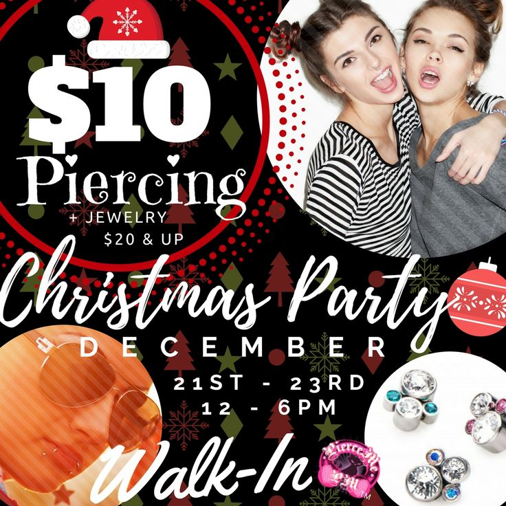 The FUN #CHRISTMAS $10 #PIERCING #PARTY STARTS THURSDAY! 🤶🤶🤶 + Jewelry $20 &up  December 21ST - 23RD  12 - 6PM     Can't make it? Don't wanna wait in the LOOONG Line?  DON'T WORRY!   Get it online! Shop $10 Piercing Sale  + jewelry $20 & up   LovePierceMe.com    JOIN US TODAY! Always get the inside scoop at PIERCE ME! Never miss a sale!  Get PIERCE ME privileges, FREE body jewelry gifts when you buy body jewelry online and more!   LovePierceMe.com   #Christmas #Gifts #IndustrialStrength…