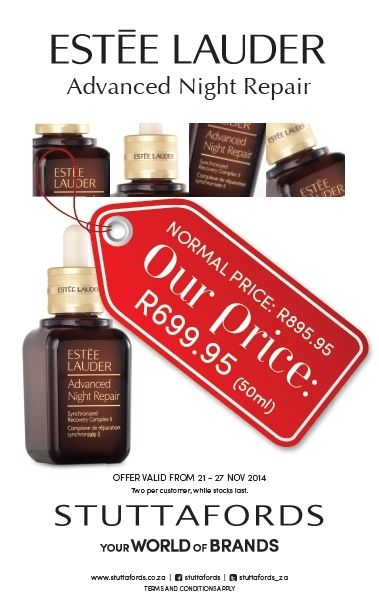 Hurry to your nearest @Stuttafords_za - we've got an amazing price on @EsteeLauder Advanced Night Repair!