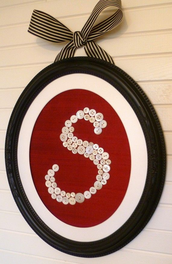 Framed Button Monogram -- You Pick The Letter and Color of Fabric -- by Letter Perfect Designs on Etsy